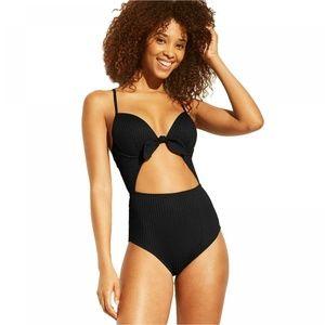 NWT Shade & Shore Rib Cut Out Swimsuit 34B Black